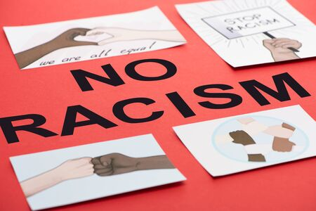 black no racism lettering among pictures with multiethnic hands on red background