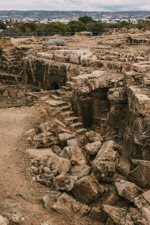 ruins of historical and old archaeological park in paphos