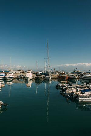 docked modern yachts in mediterranean sea Imagens