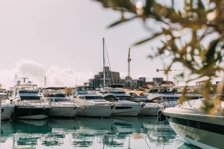 selective focus of docked yachts in mediterranean sea 스톡 콘텐츠