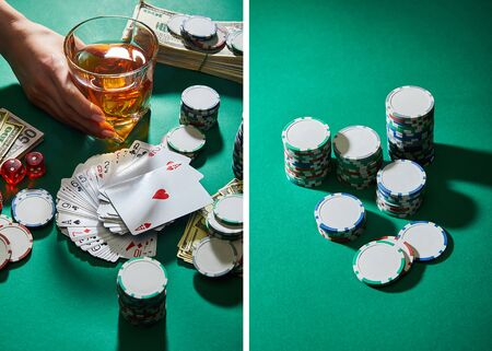 collage of woman holding glass of cognac near money, playing cards, dice and casino tokens on green Stock Photo