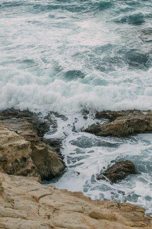 rocks near water in mediterranean sea in cyprus