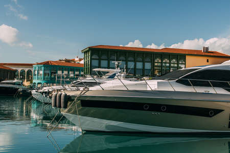 sunshine on docked and modern yacht in mediterranean sea