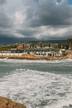 houses and trees near mediterranean sea in cyprus Imagens