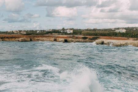 splashes of blue water in mediterranean sea