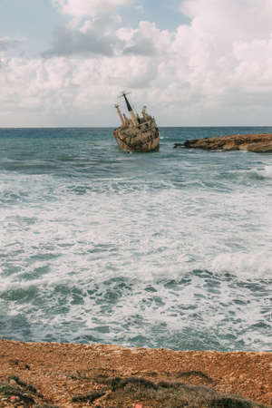 old ship in blue water of mediterranean sea Imagens