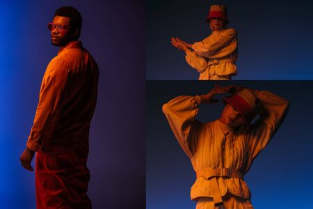 collage with fashionable interracial woman and african american man posing in futuristic look on blue in orange light 版權商用圖片