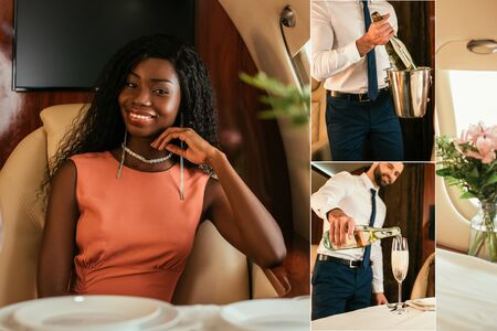 collage of smiling , elegant african american woman looking at camera, and air steward with champagne bucket and bottler pouring drink into glass