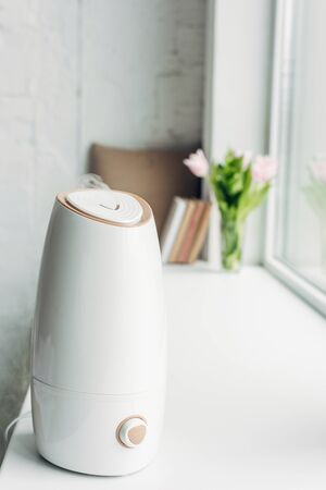 white ultrasonic purifier standing on windowsill with books and flowers