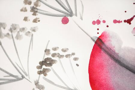 Japanese painting with flowers and pink circle on white background Zdjęcie Seryjne