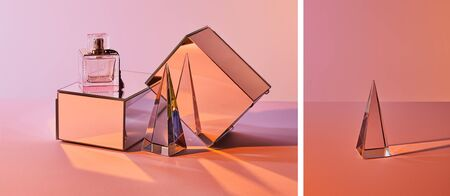 collage of crystal transparent pyramid and perfume bottle with mirror cubes on pink background