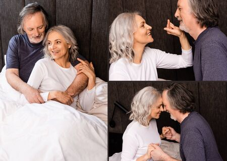 collage of happy mature woman pointing with finger at husband, holding hands and lying in bed