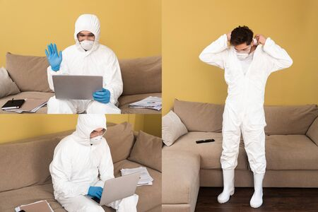 Collage of man in medical mask, latex gloves and hazmat suit using laptop in living room