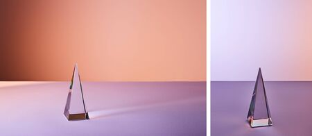 collage of crystal transparent pyramid with light reflection on violet background