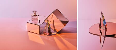 collage of crystal transparent pyramid near perfume bottle on box and round mirror on pink background