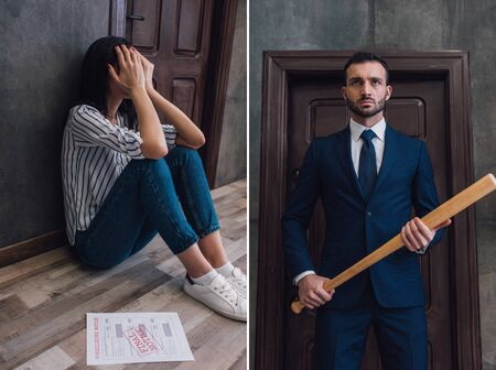 Collage of woman covering face near document on floor near wall and angry collector with baseball bat near door in room 版權商用圖片