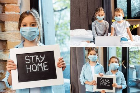 collage of siblings in medical masks holding chalkboard with stay home lettering and using laptop at home