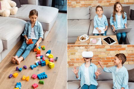 collage of kid near building blocks, wearing virtual reality headset and siblings e-learning near gadgets Stockfoto