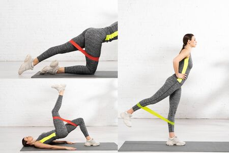 collage of sportive woman with hand on hip working out with resistance band