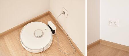 collage of of modern robotic vacuum cleaner near power sockets on wall 版權商用圖片