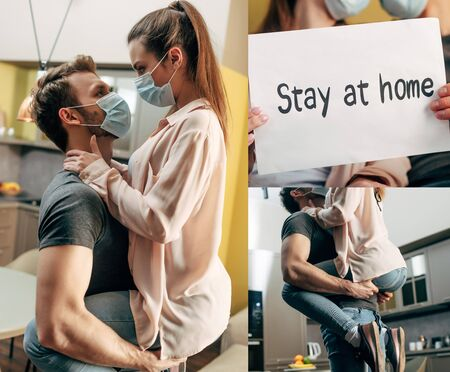 collage of man in medical mask holding in arms girl and placard with stay at home lettering