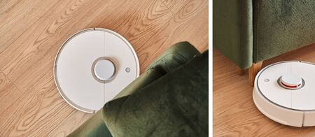 collage of modern robotic vacuum cleaners washing floor in living room