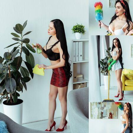 Collage of sensual woman spraying plant, using broom and dust brush Standard-Bild
