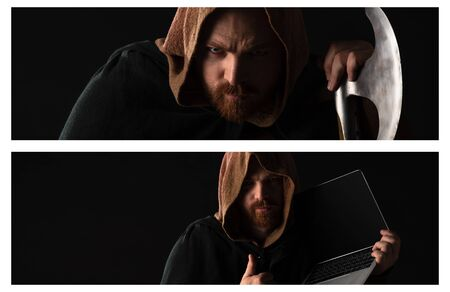 collage of frowning medieval Scottish redhead man with battle axe and laptop in dark isolated on black Imagens