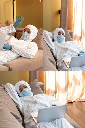 Collage of man in hazmat suit having video call and using laptop on couch