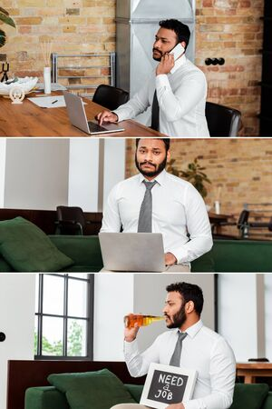 collage of upset african american man using laptop, talking on smartphone and holding chalkboard with need a job lettering while drinking beer