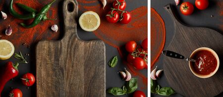 collage of tomato paste in bowl on chopping board near vegetables and herbs on black Stok Fotoğraf