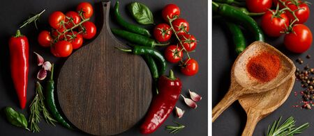 collage of wooden cutting board near ripe cherry tomatoes, garlic cloves, rosemary, green chili peppers and spoons with paprika powder on black