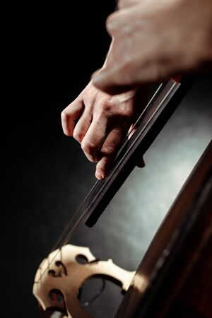 cropped view of professional musician playing on contrabass on dark stage