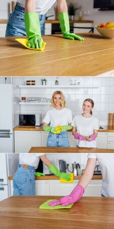 collage of cheerful sisters in rubber gloves looking at camera and cleaning kitchen