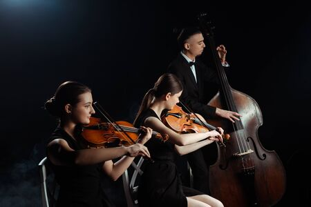 professional musicians playing on double bass and violins isolated on black Zdjęcie Seryjne
