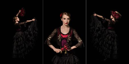 collage of attractive flamenco dancer holding fans and dancing isolated on black Stock Photo