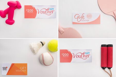 Collage of sport equipment near gift vouchers on white background