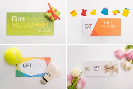 Collage of gift cards and vouchers with flowers, shuttlecock and present on white background