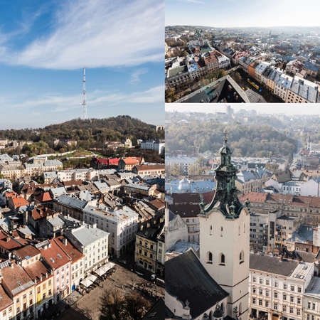 collage of carmelite church, market square and castle hill against blue sky