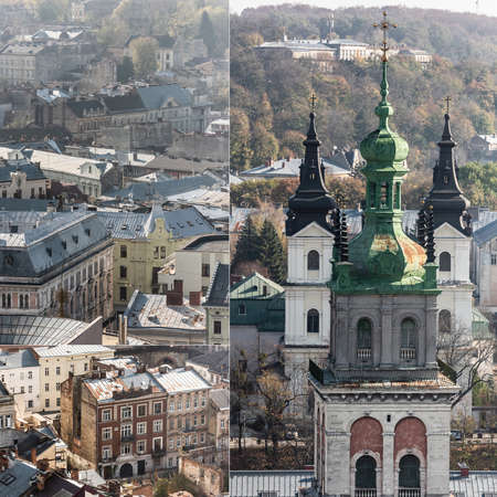 collage of carmelite church and old houses in lviv