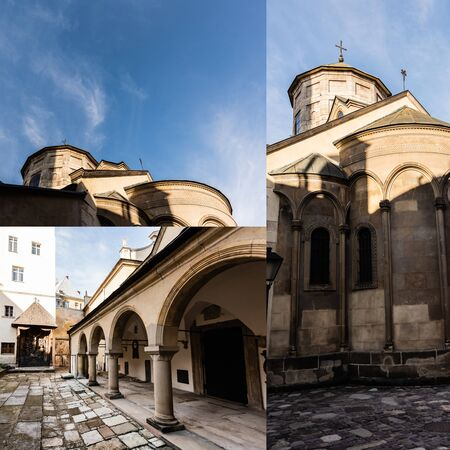 collage of inner yard of carmelite monastery and armenian cathedral against blue sky in lviv