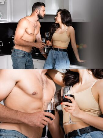 collage of shirtless man and happy woman holding glasses of red wine and looking at each other