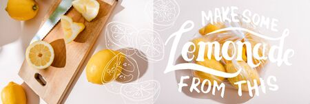 collage with cutted lemons on wooden board and whole lemons in plastic bag on grey table with make some lemonade from this lettering, website header