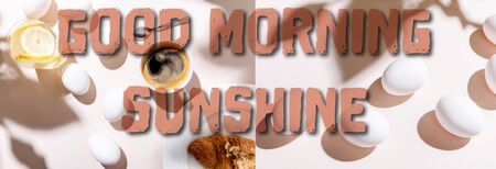 collage with boiled eggs, water with lemon, coffee cup and croissant for breakfast on grey table with good morning sunshine lettering, website header Foto de archivo