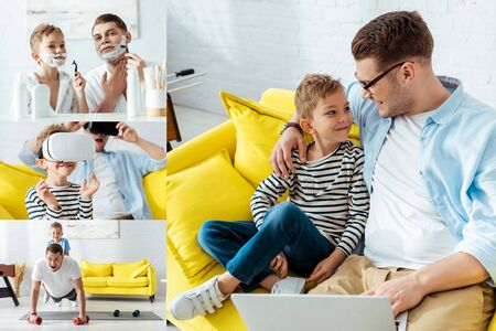 collage of father and son using laptop, vr headsets, shaving at exercising at home
