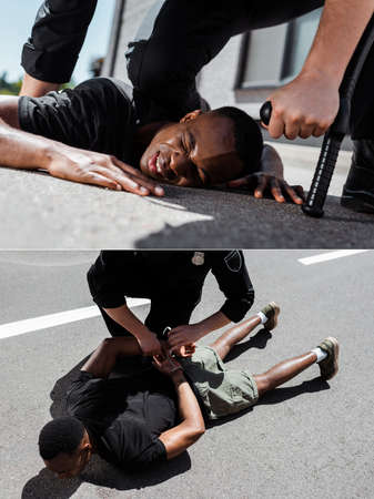collage of detained african american man lying on ground near policeman with handcuffs and baton, racism concept 免版税图像