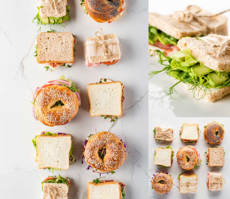 collage of fresh green sandwiches and bagels on marble white surface Zdjęcie Seryjne