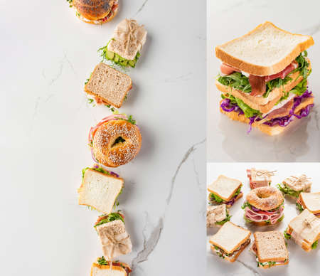 collage of fresh green sandwiches with meat and bagel on marble white surface Zdjęcie Seryjne