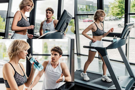 collage of handsome man looking at girl running on treadmill in gym