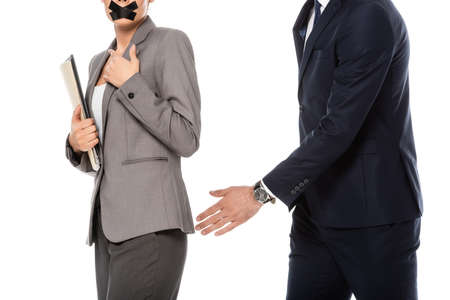 cropped view of businessman in formal wear molesting businesswoman with duct tape on mouth isolated on white, harassment concept